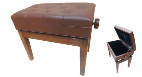 כסא פסנתר מתכוונן חום עם אחסון תוויםו