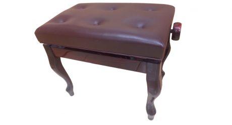כסא פסנתר מתכוונן מהגוני קטיפה חומה