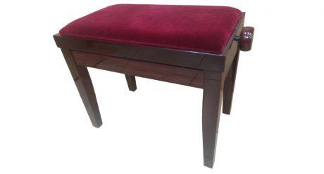 כסא לפסנתר מתכוונן מהגוני קטיפה בורדו
