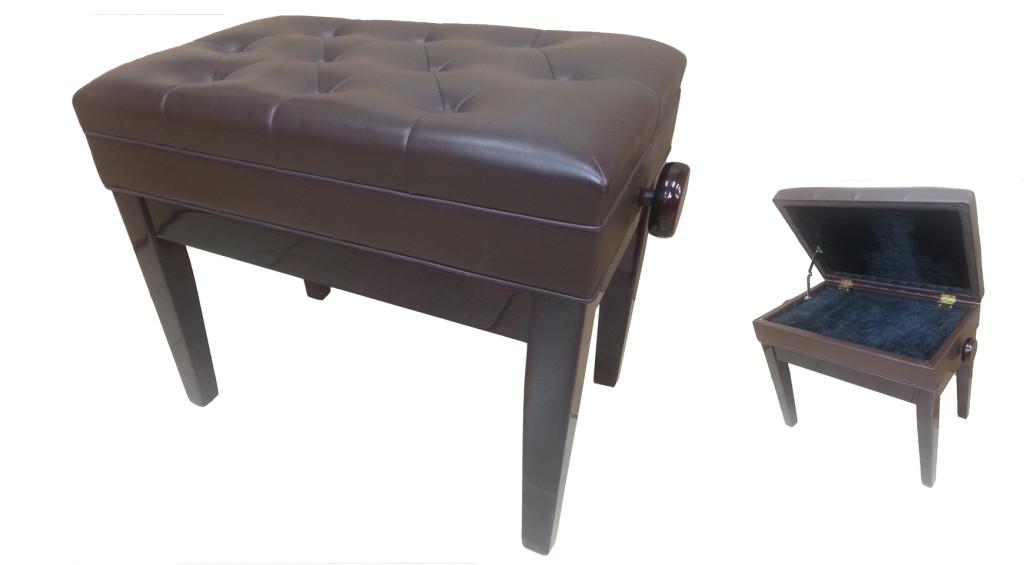 כסא לפסנתר עם תא אחסון לתווים – מהגוני (25)