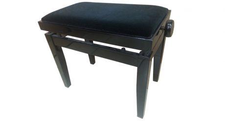 כסא פסנתר מתכוונן שחור קטיפה שחורה