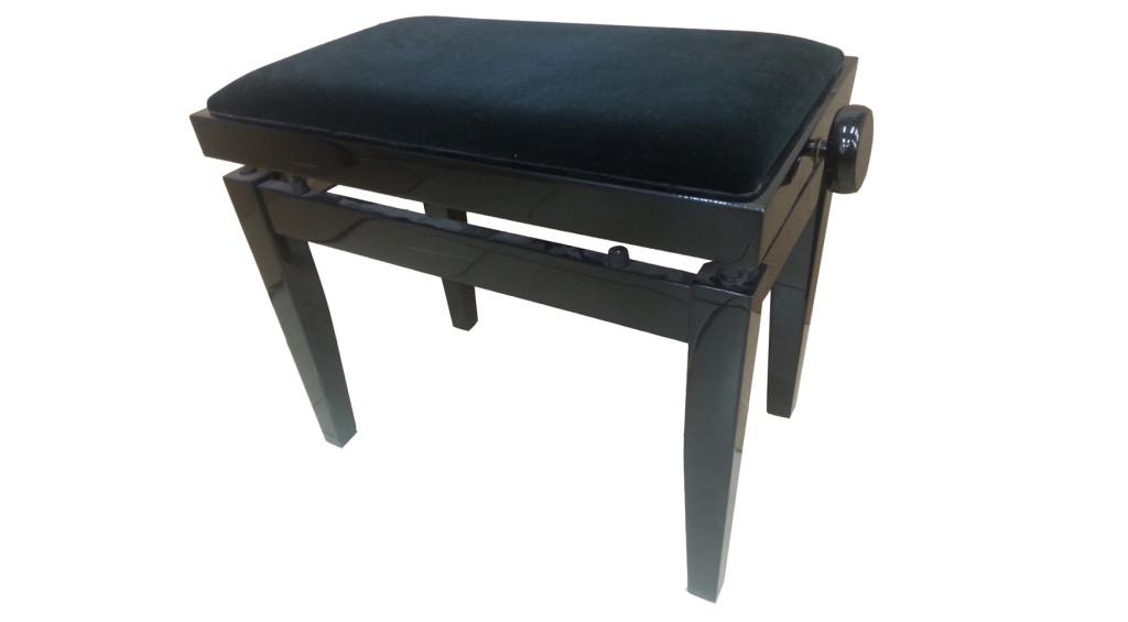 כסא לפסנתר קטיפה שחורה  (06)
