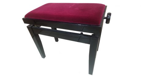 כסא פסנתר מתכוונן שחור קטיפה בורדו