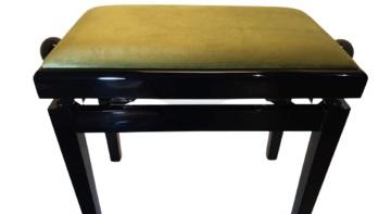כסא מתכוונן לפסנתר שחור קטיפה ירוקה