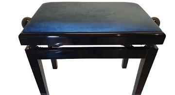 כסא מתכוונן לפסנתר שחור קטיפה כחולה